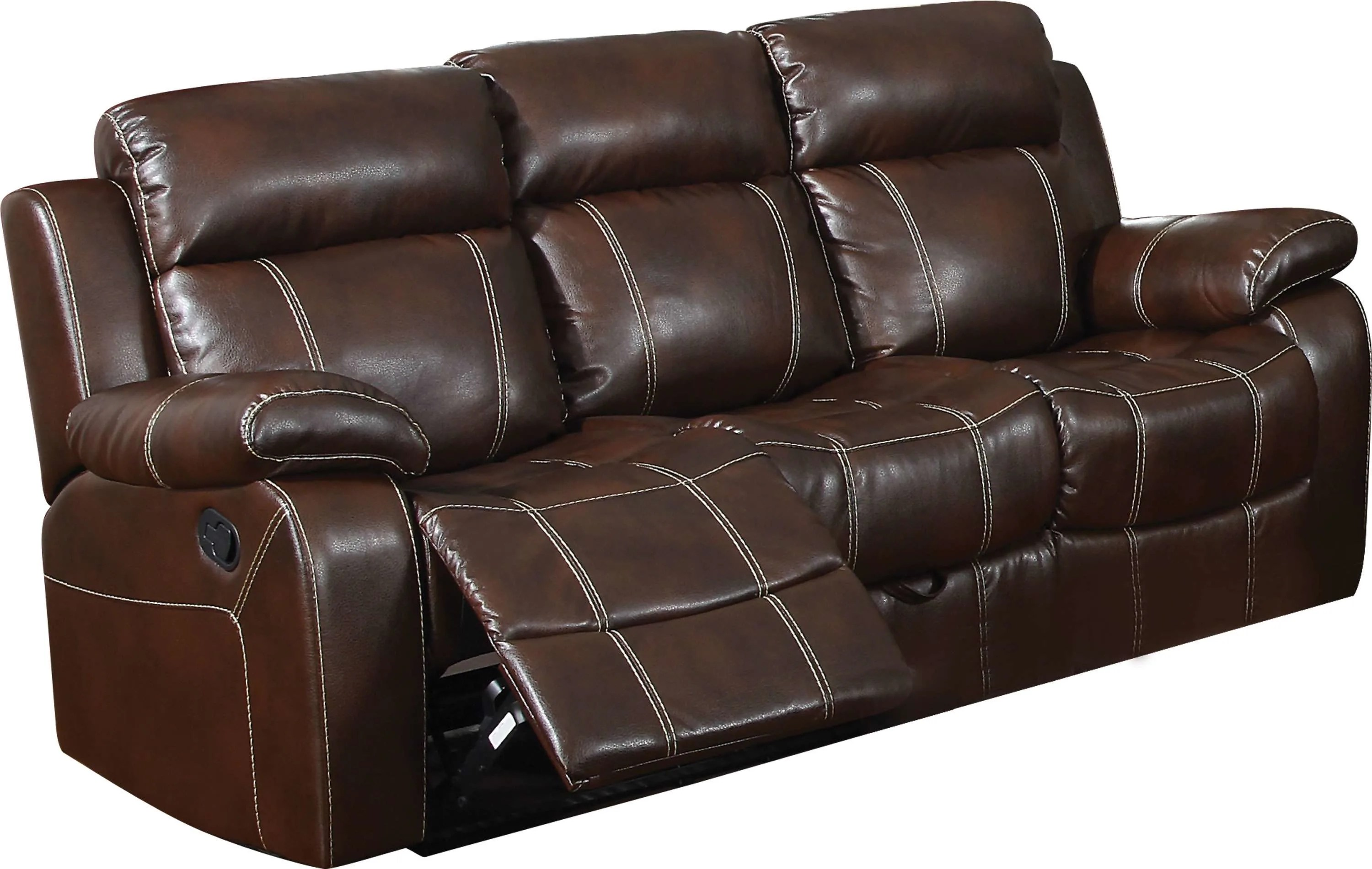 chestnut colored leather sofa antique victorian styles coaster myleene motion with pillow arms