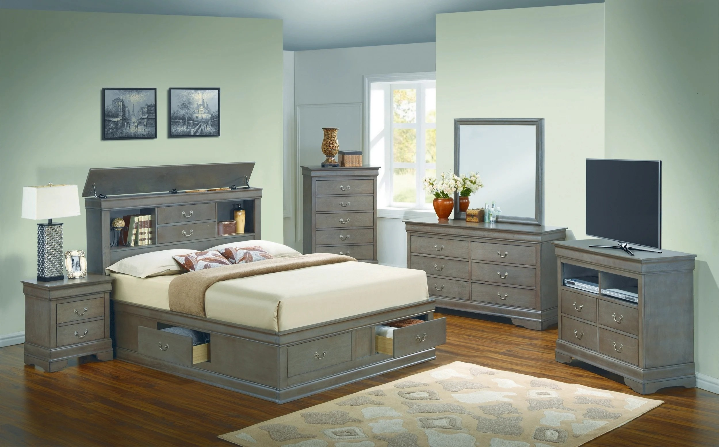 Glory Grey King Storage 6 Piece Bedroom Set With Bookcase Headboard Reviews Goedekers Com