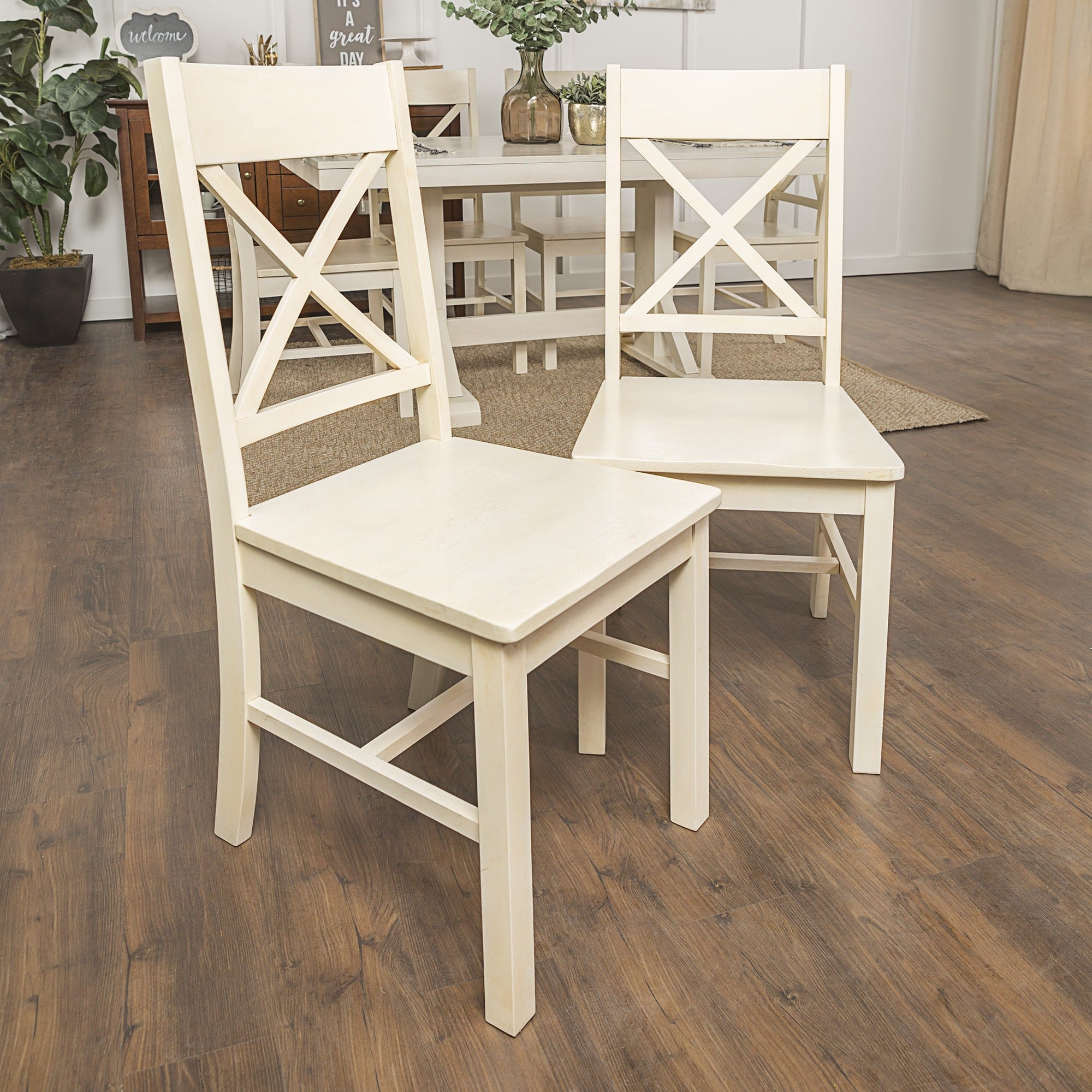 Antique White Dining Chairs Walker Edison Chw2awh