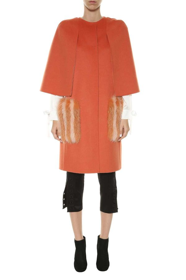 Fendi - Double Wool Coat With Fur Pockets Arancio