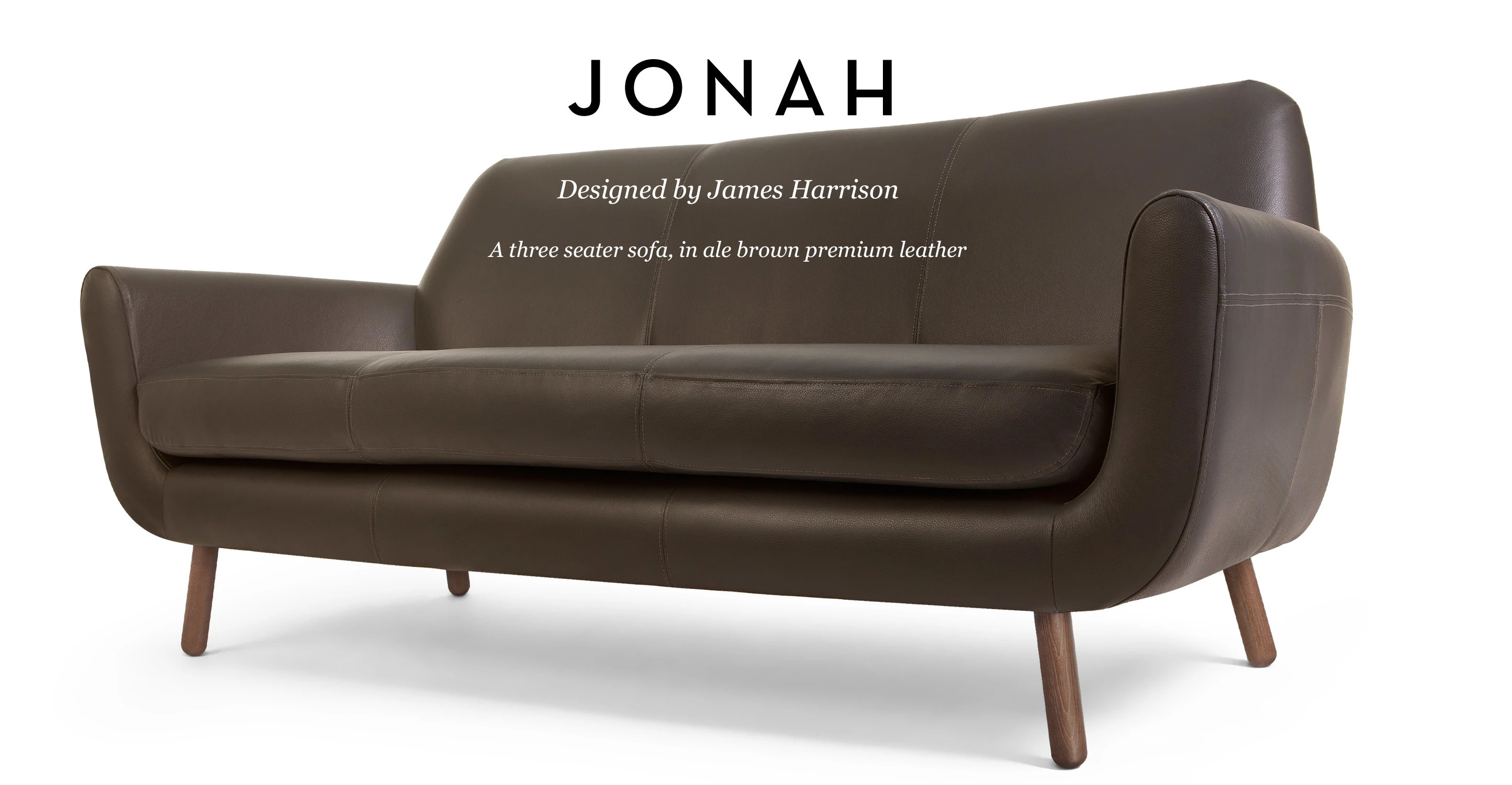 james harrison chair parsons slipcover pattern jonah 3 seater sofa in ale brown premium leather made