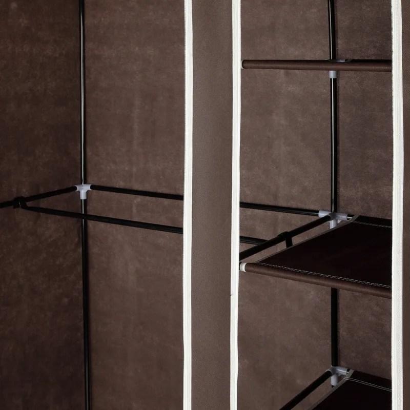 Homegear Double Fabric Portable Wardrobe Closet Dark Brown