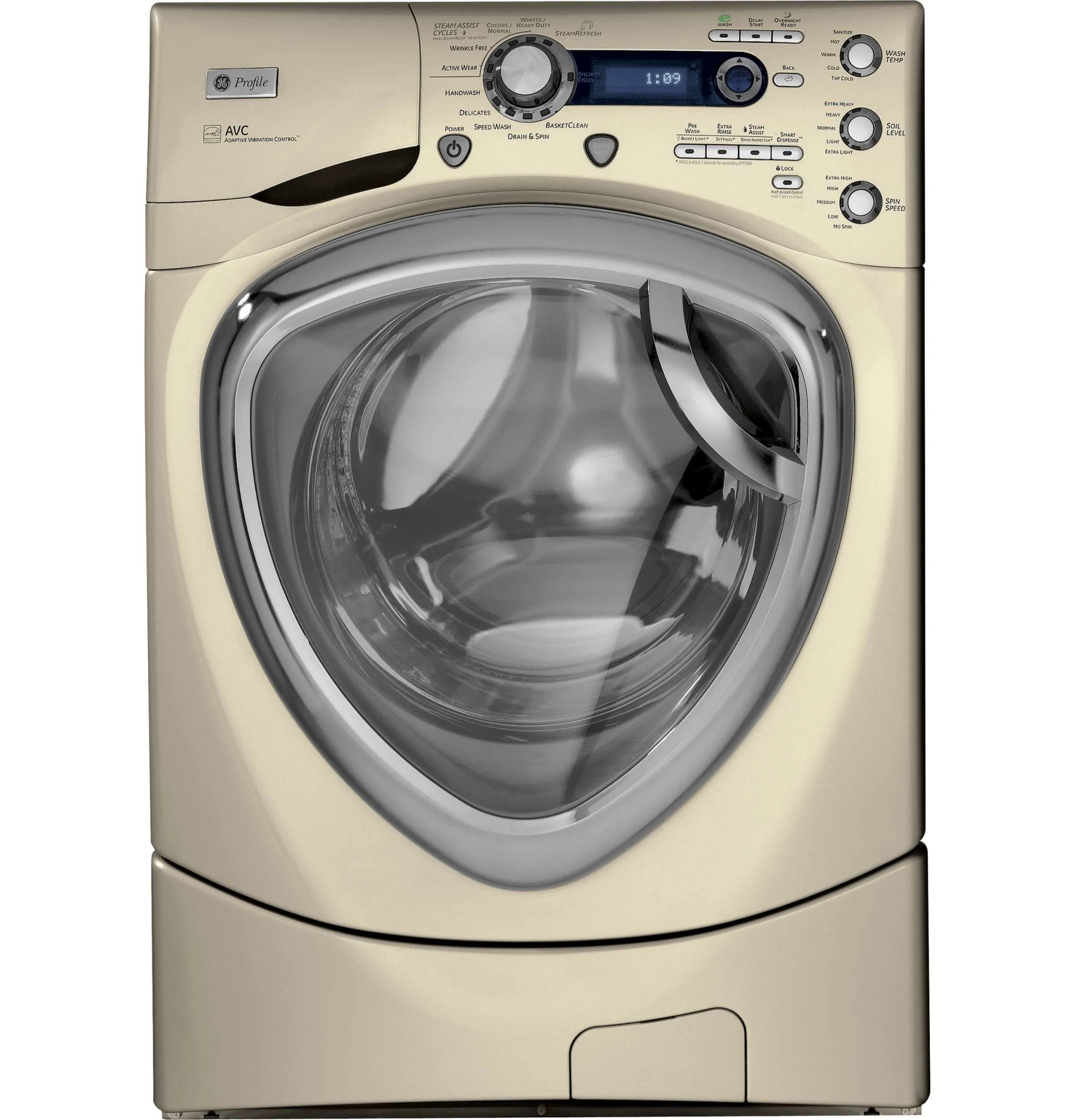 hight resolution of ge 4 3 cu ft champagne front load steam washer pfws4605lmg image 2