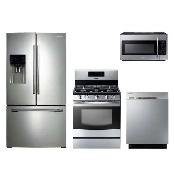 samsung kitchen package linoleum flooring rf263beaesr nx58h5600ss dw80j3020us me18h704sfs by 4 piece stainless steel gas appliance special