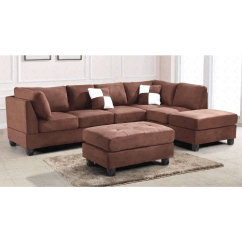 Chocolate Brown Leather Sectional Sofa With 2 Storage Ottomans Left Side Sofas Glory Suede Ottoman Reviews