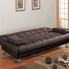 Coaster Futon Sofa Bed With Removable Armrests Review Natalie Table Brown Faux Leather Convertible