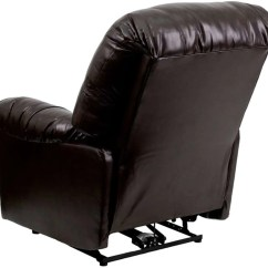 Push Button Recliner Chairs Hammock Chair With Stand Flash Furniture Contemporary Bentley Brown Leather Chaise