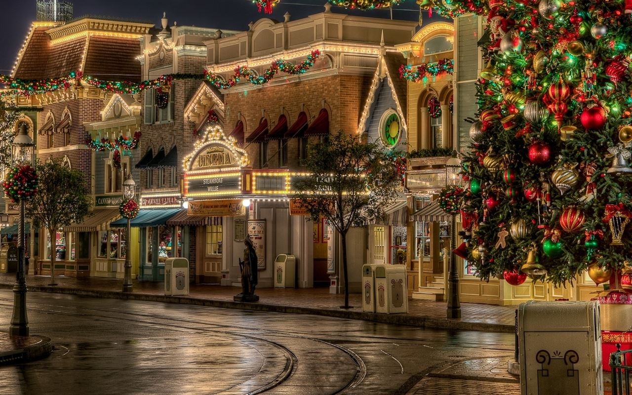 Snow Falling Wallpaper For Ipad Lovely Christmas Street Decoration Mac Wallpaper Download