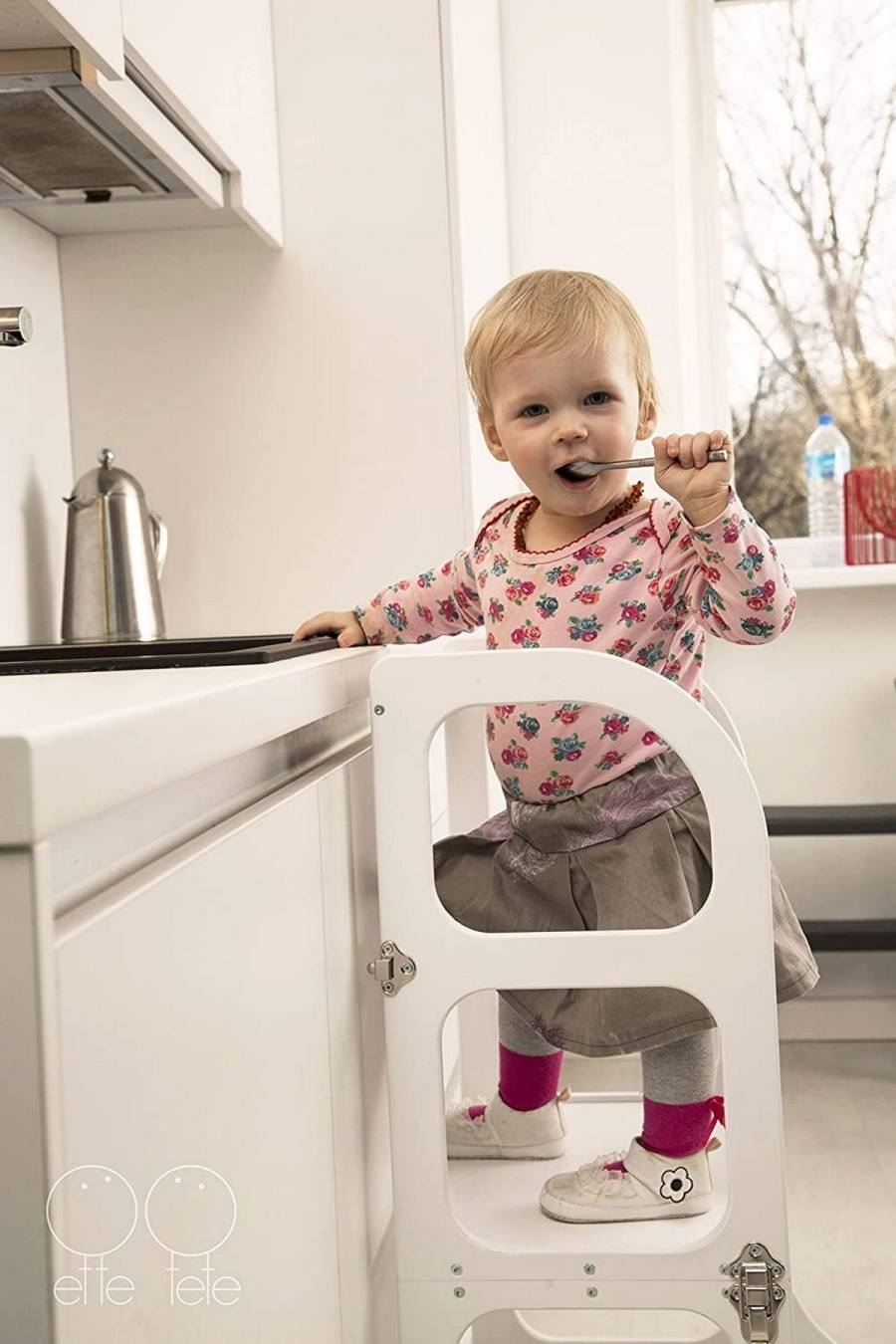 Montessori learning tower, also called a kitchen helper, might be one of the best practical items to have around the house when you're surrounded by a toddler's growing interest in, well, everything around the house.