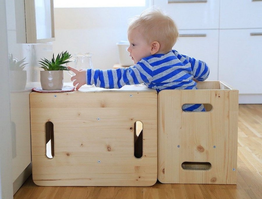 With a weaning table and chair set, you can create a wonderful Montessori environment in your home. Your baby will fit perfectly in it. Introducing them to the joy of eating at the table will allow them to develop independence and a sense of self-worth as well as teach them the joy of eating. This is an alternative to a high chair, and it shows your baby he or she has a special place in your home just for them.