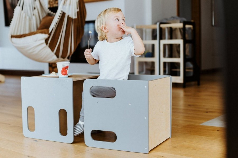 Weaning tables not only allow for independence at mealtime, as it relates to getting into and out of their seats independently but also provide additional opportunities for practical life activities.