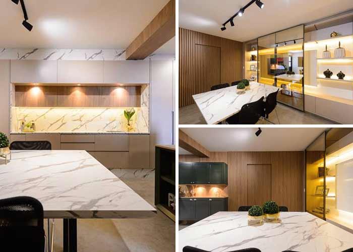 Sala de reunião gourmet: mix de MDFs em espaço coorporativo