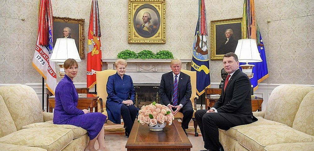 Pictured here in the Oval Office at the White House in Washington, D.C. recently are US President Donald J. Trump on the center-right, and seated next to President Trump is Dalia Grybauskaite, the President of Lithuania. Shown on the far left is Kersti Kalujaid, the President of Estonia, and seated opposite Ms Kalujaid is Raimonds Vejonis, the President of Latvia. Official White House photo by Shealah Craighead.