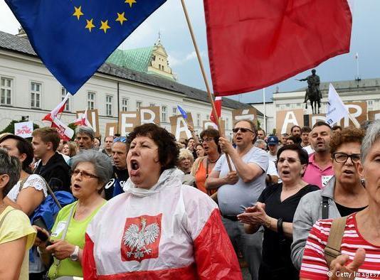 Poland. Peaceful protesters