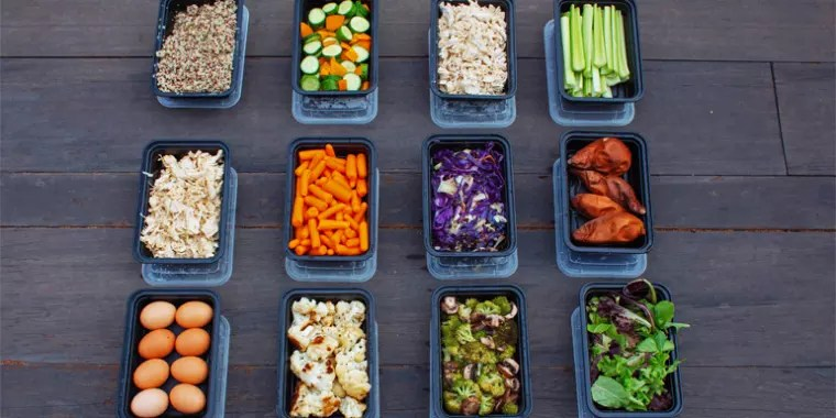 Buffet Style Meal Prep with Shredded Chicken, Roasted Veggies, and Sweet Potatoes | BeachbodyBlog.com
