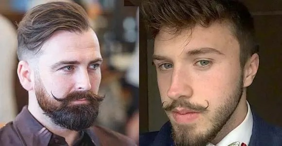 handlebar mustache with beard style for young guys