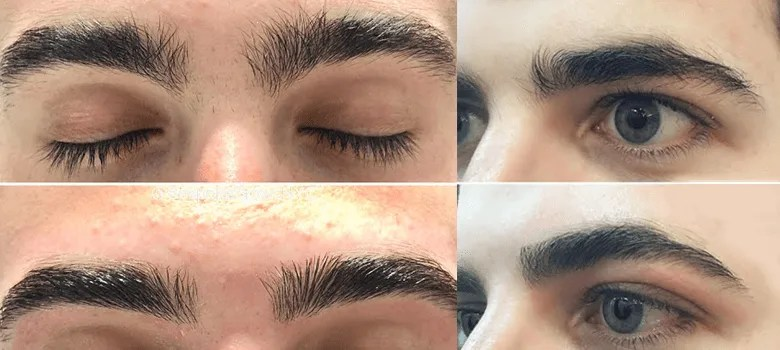 men's eyebrow threading before and after