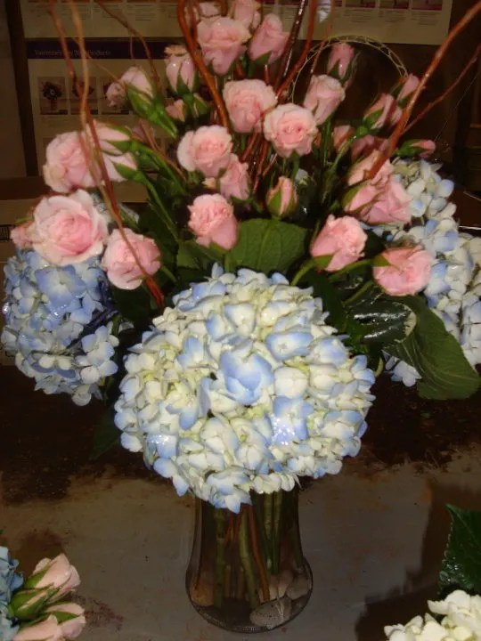 roses hydrangea by flowers