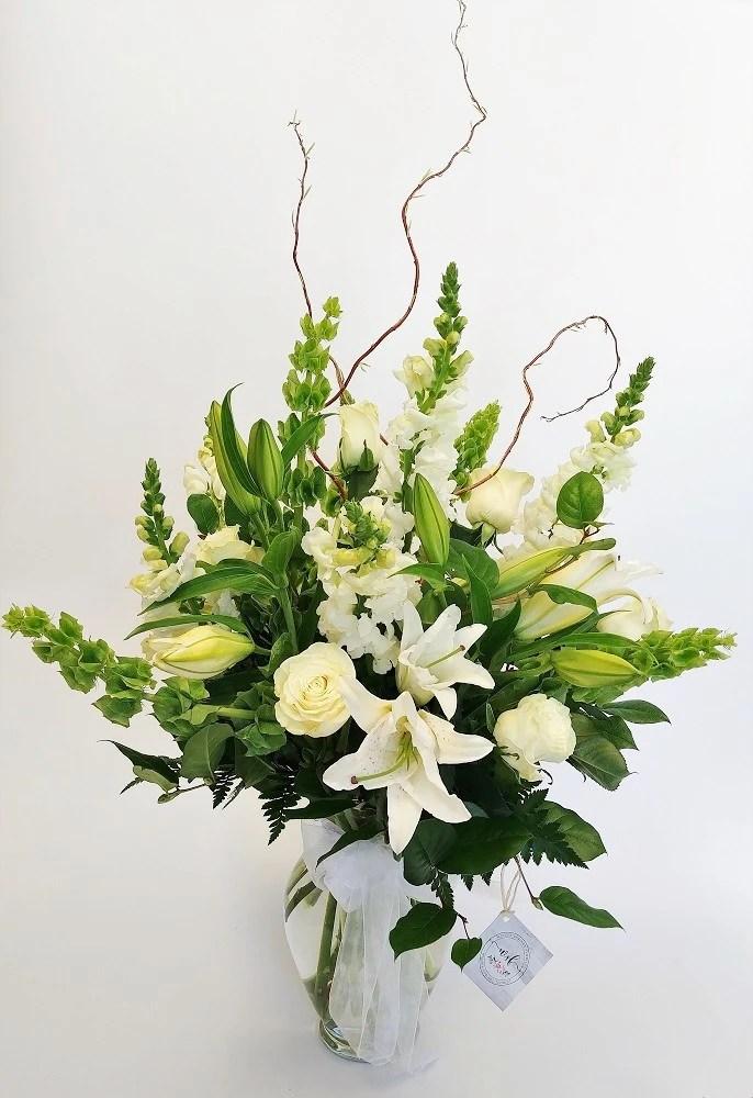 crisp white floral arrangement