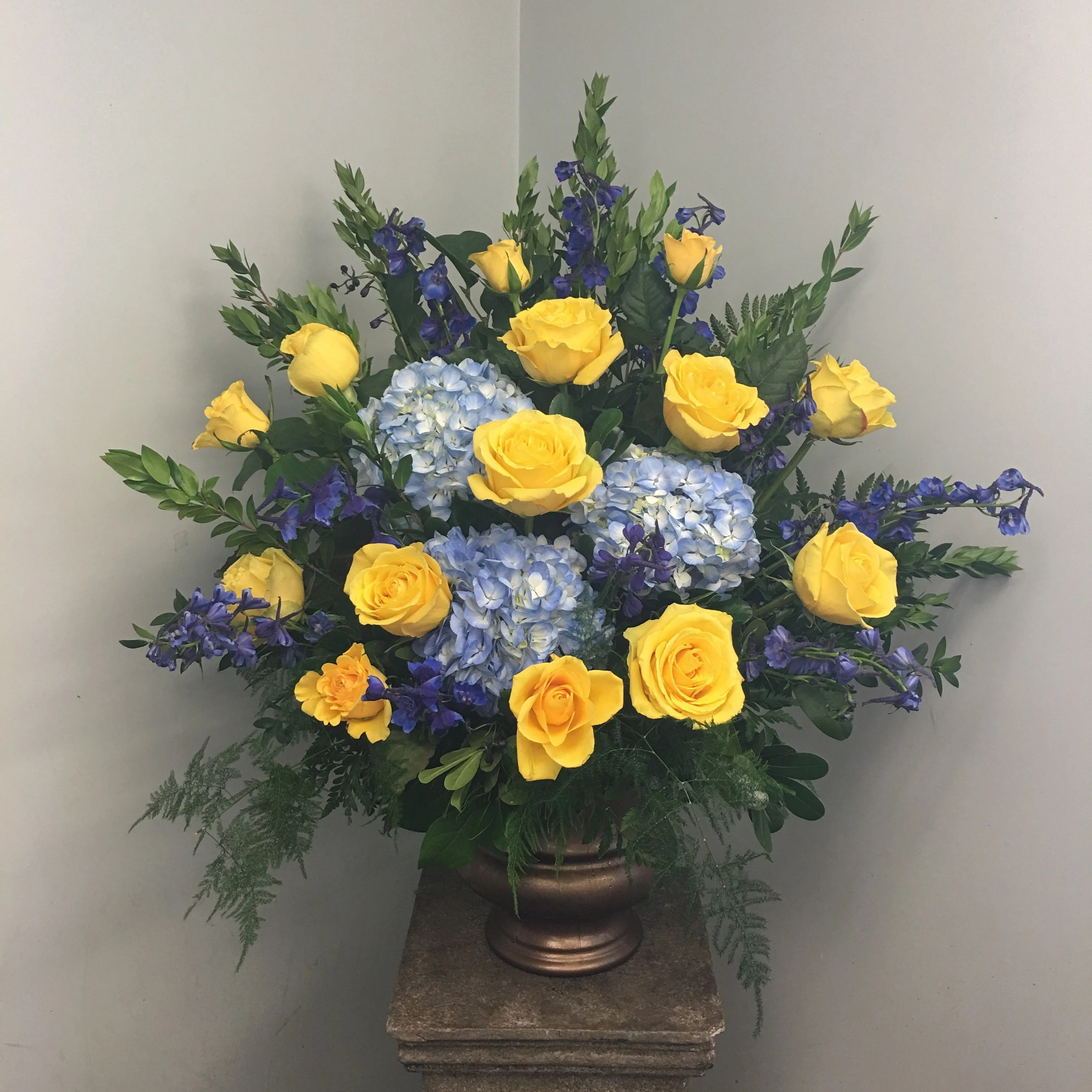evans blue yellow funeral