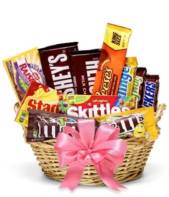 delicious candies basket in