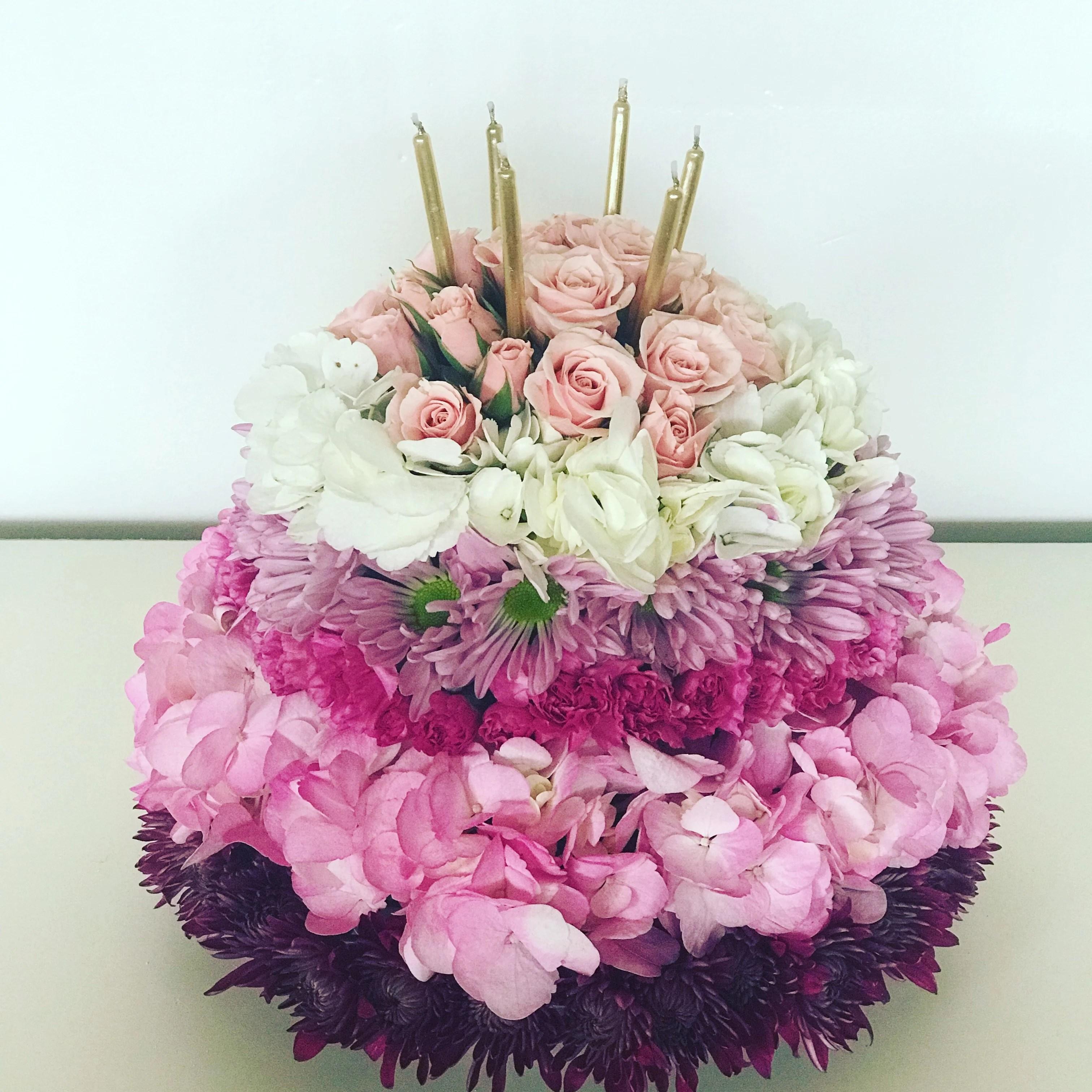 birthday flower cake in
