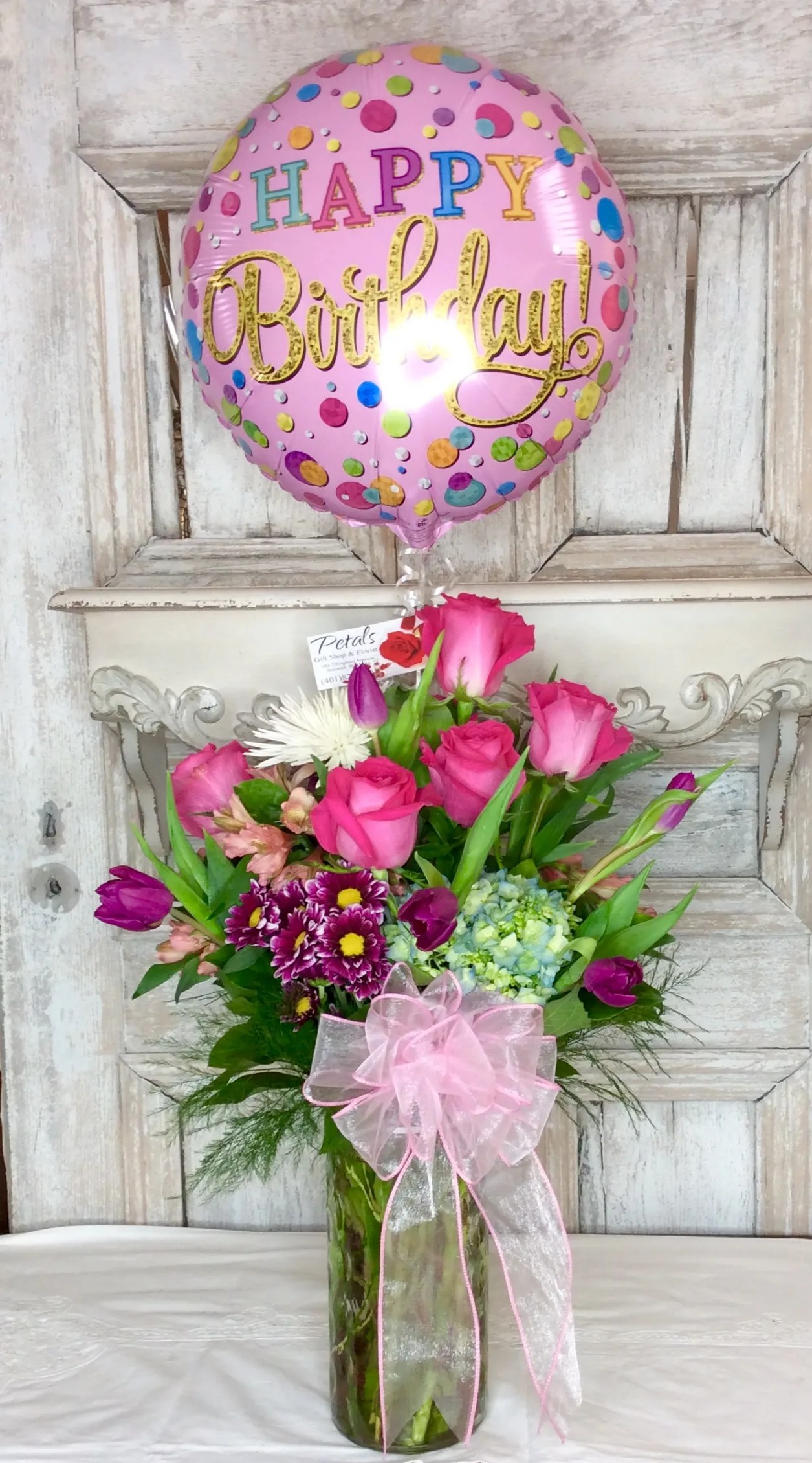 happy birthday balloon flowers