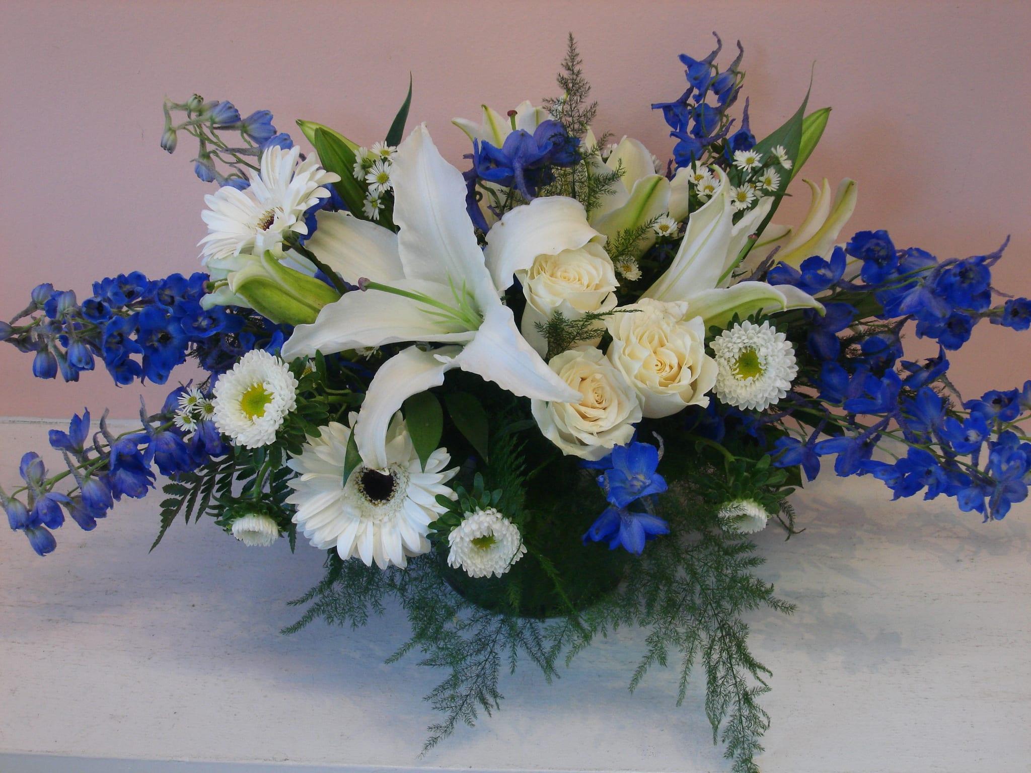 gorgeous blue skies floral