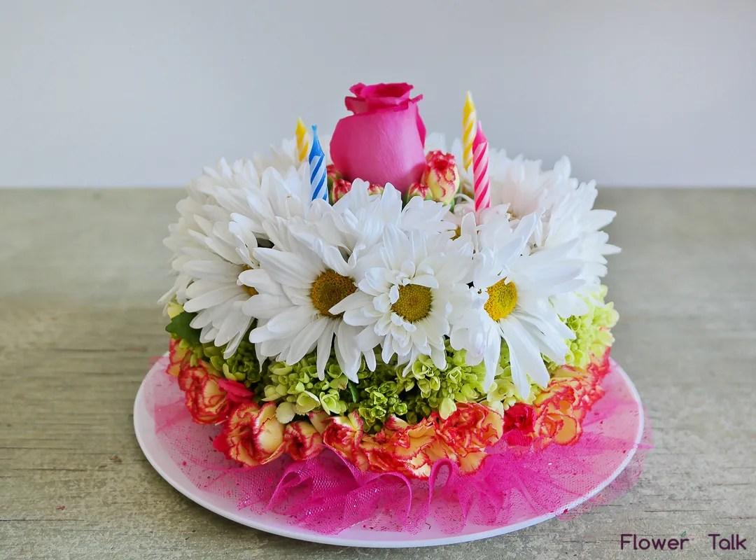 Flower Birthday Cake By Flower Talk In Duluth Ga Flower Talk