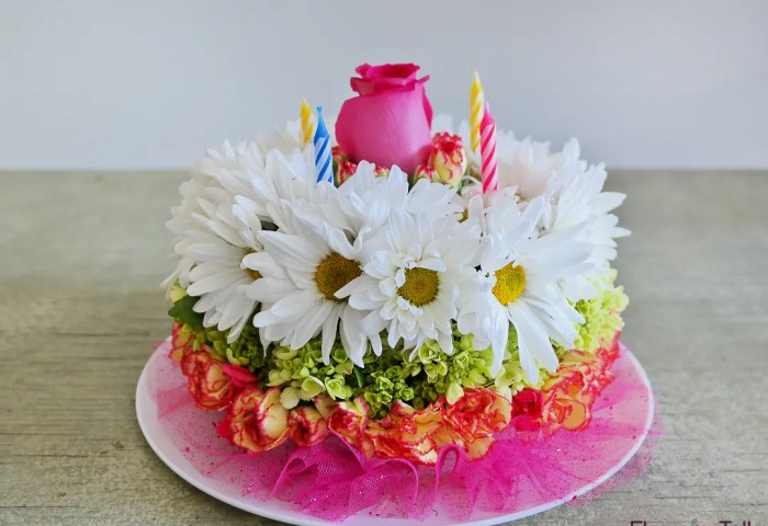 Flower Birthday Cake By Flower Talk In Duluth Ga Flower Talk