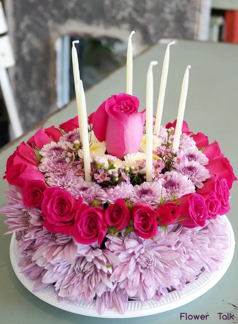 Lavender Pink Flower Birthday Cake By Flower Talk By Flower Talk