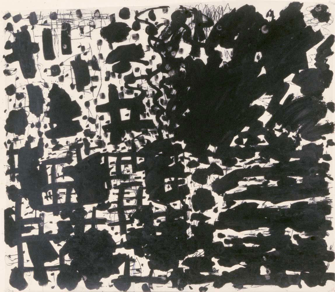 Stanley Whitney, Untitled, 1983. Black india ink on mylar. 36 × 48 inches.  Courtesy of the artist.