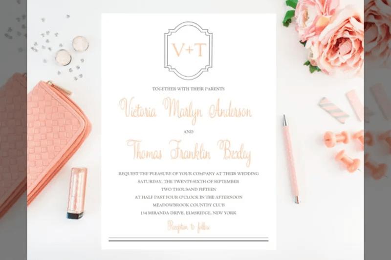 Bridebook Co Uk Simplistic Wedding Invitation With Elements Of Calligraphy