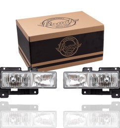 88 99 gm pickup composite crystal clear performance headlamp set l r 92 99 gm suburban gmc yukon 92 94 chevrolet blazer 95 99 chevrolet tahoe 00 classic  [ 1000 x 1000 Pixel ]