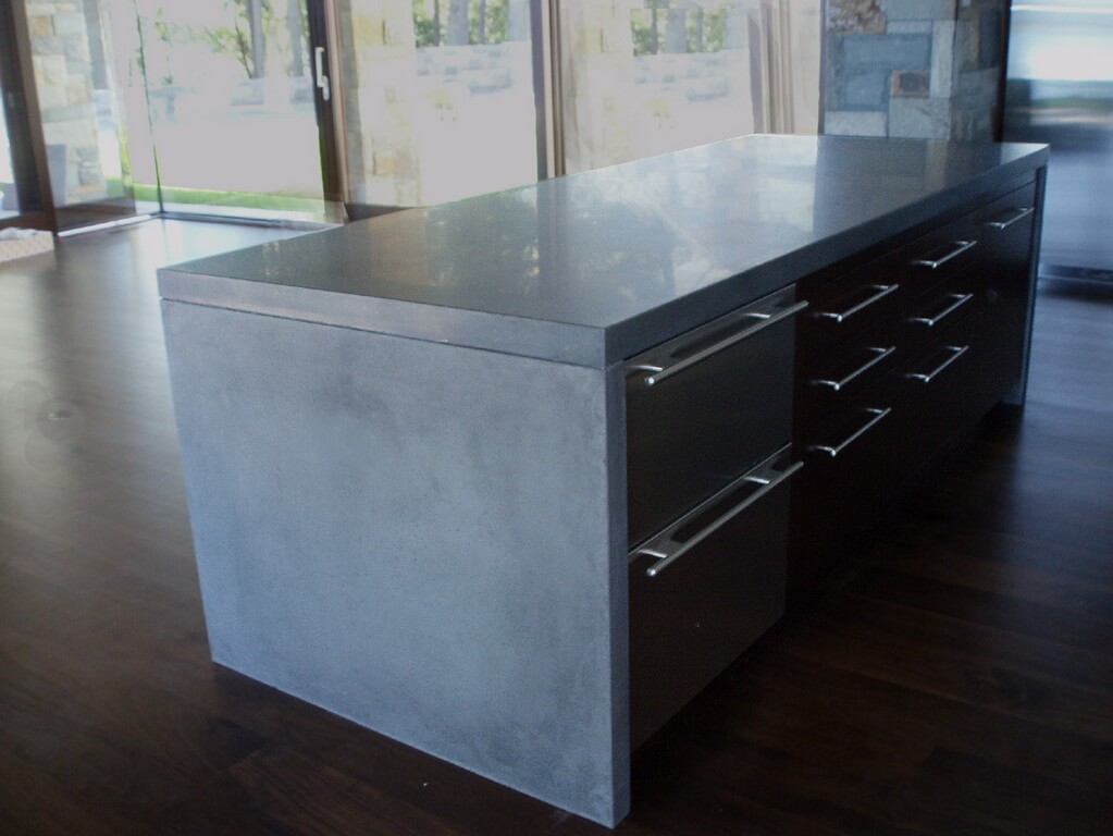 kitchen island top small tables and chairs waterfall style concrete tops brooks custom countertop gray verdicrete