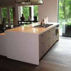 Zinc Top Kitchen Island How Much Do Cabinets Cost Waterfall Style Concrete Tops - Brooks Custom