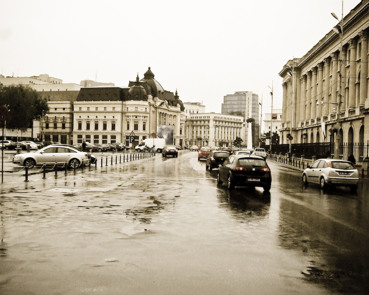 Bucharest in the rain. Click for source