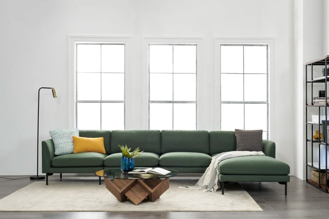 pebble extended chaise sectional sofa