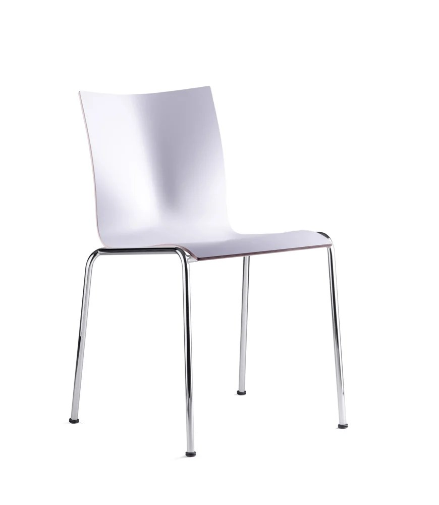 Kevi Chair Kevi Plus Dining Chair 4 Legs Veneer Lacquered Walnut Polished Chrome By Engelbrechts