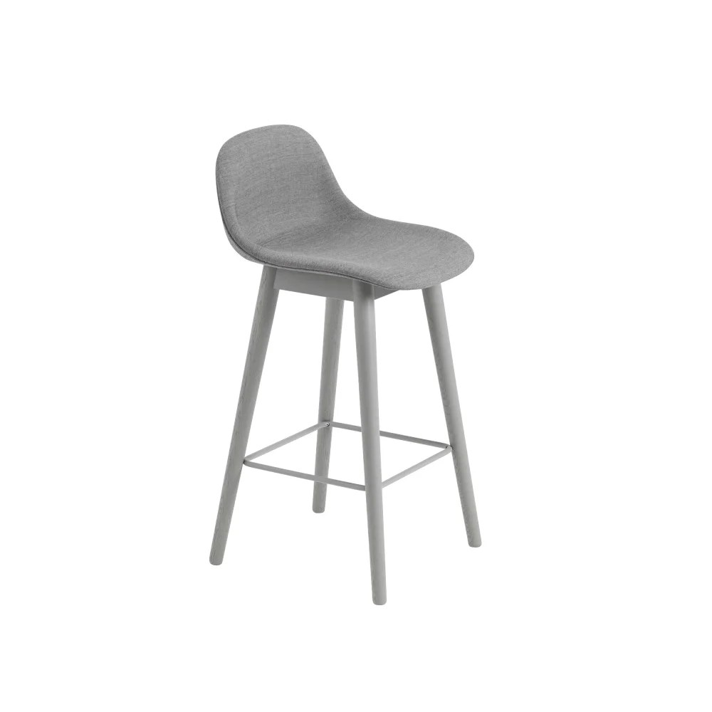 Upholstered Bar Chairs Fiber Bar Stool With Backrest Wood Base Upholstered Hallingdal 65 100 65 By Muuto