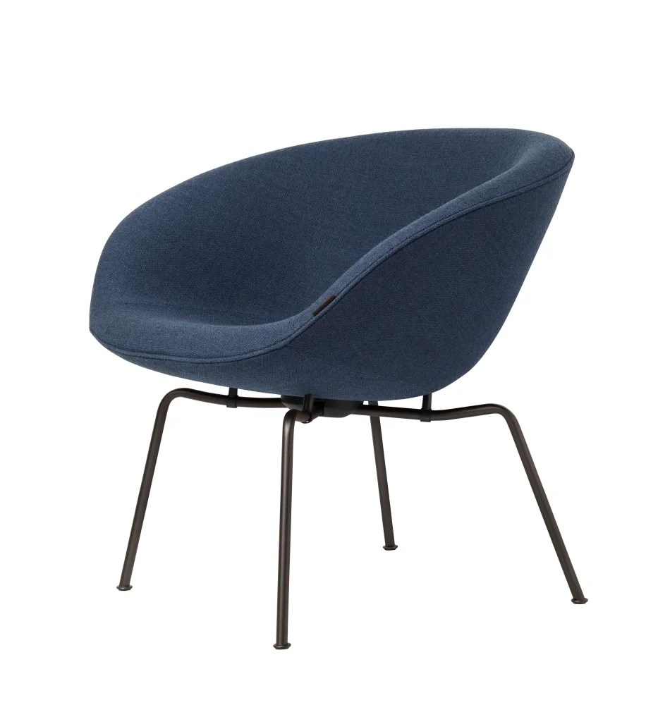 Fritz Hansen Chairs Pot Lounge Chair Fh 6001 Blue Dark Brown Powder Coated By Fritz Hansen
