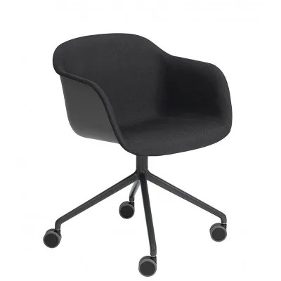 Fiber ArmchairSwivel Base With Castors Upholstered By Muuto