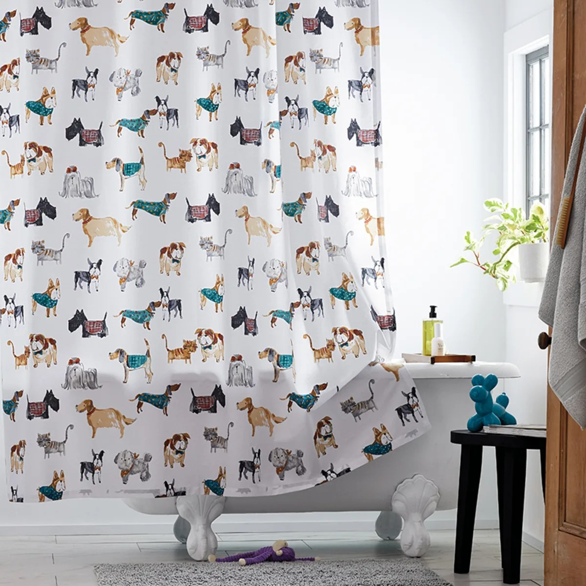 company cotton cozy companions percale shower curtain