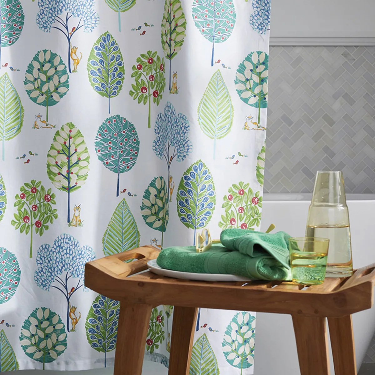 company cotton in the park percale shower curtain