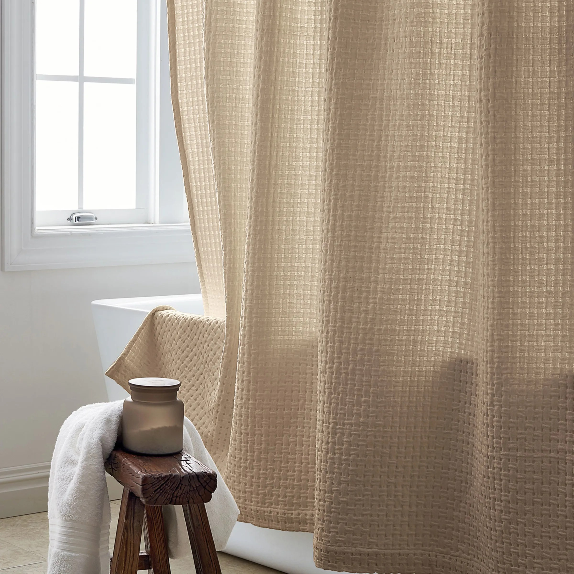 company cotton basketweave cotton shower curtain twine