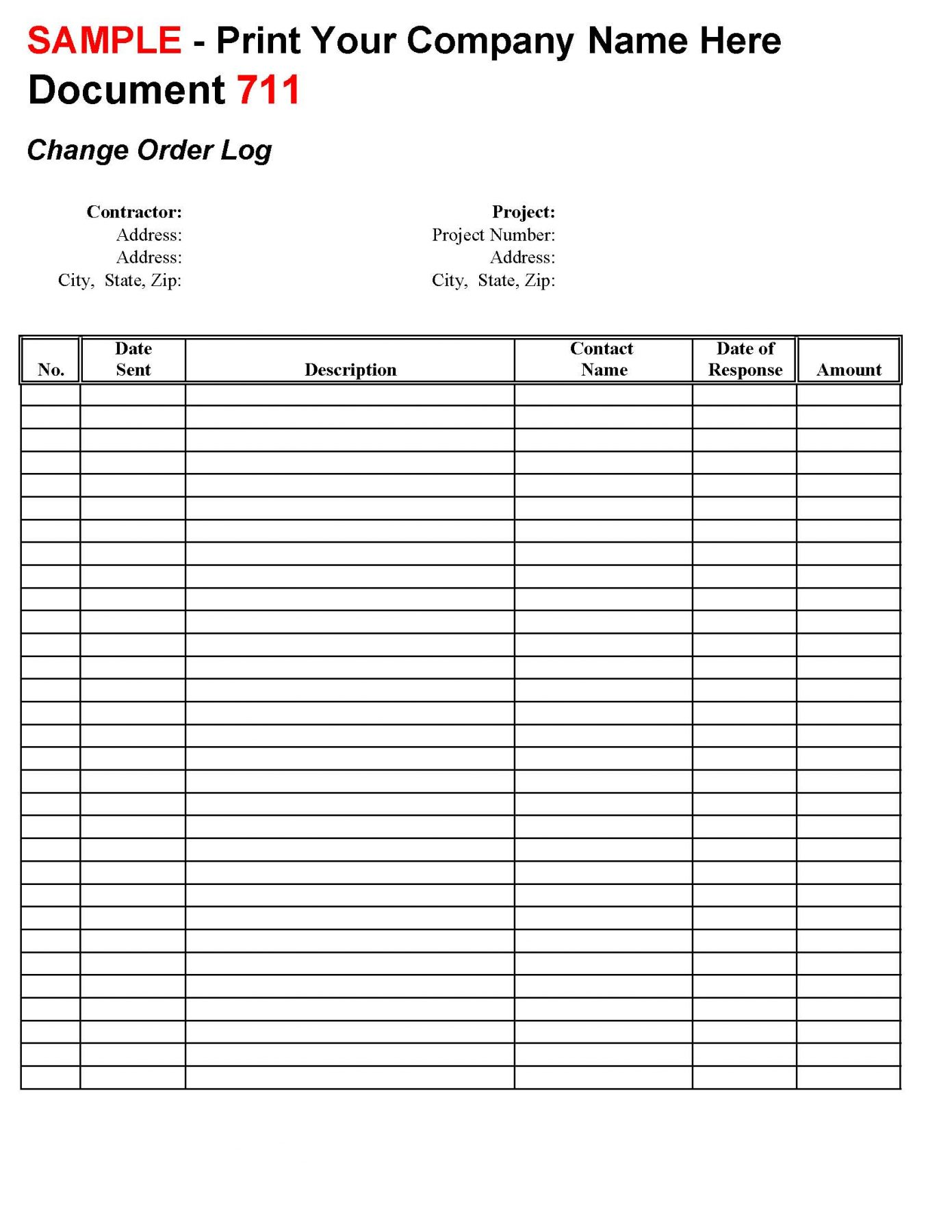 Change Order Logconstruction Office Online