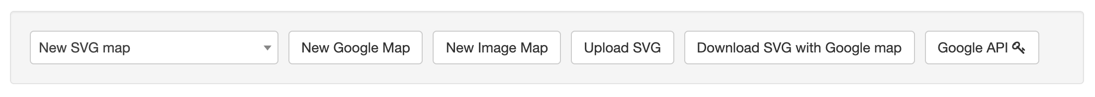 A screenshot of the MapSVG settings with options for the type of map to create. Options include Google Map, image map, upload SVG, download SVG with Google map, and Google API.