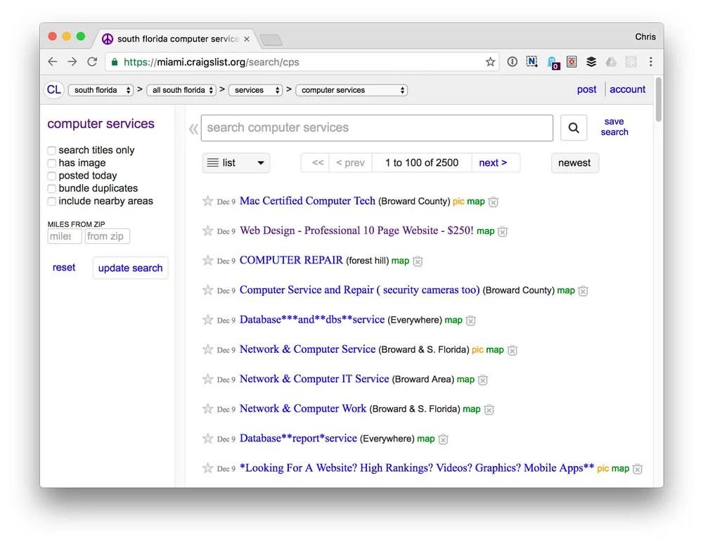 Craigslist listings for web designers