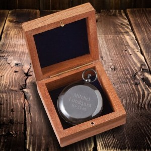 Personalized Keepsake Compass with Wooden Box