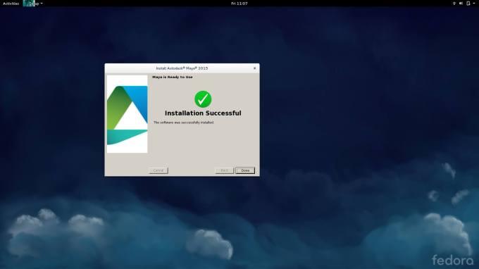 Autodesk Maya install success
